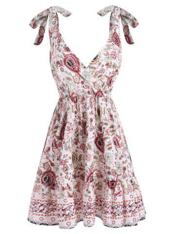 Floral Tie Shoulder Flounce Mini Dress
