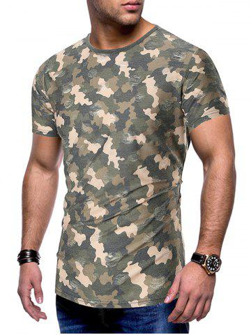 Camouflage Print Destroy Wash Slim Fit Tee