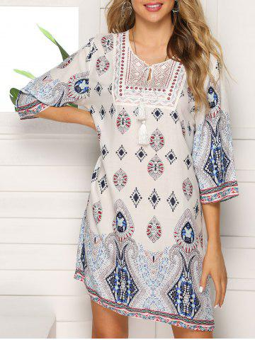 Embroidered Keyhole Straight Dress