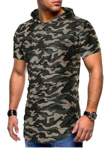 Camouflage Print Ripped Hooded Tee