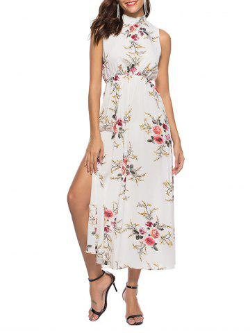 Floral Print Slits Sleeveless Maxi Dress