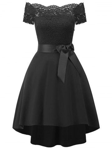 Lace Panel Belted High Low Dress