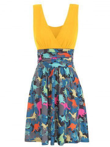 V Neck Ruched Dinosaur Print Sleeveless Dress