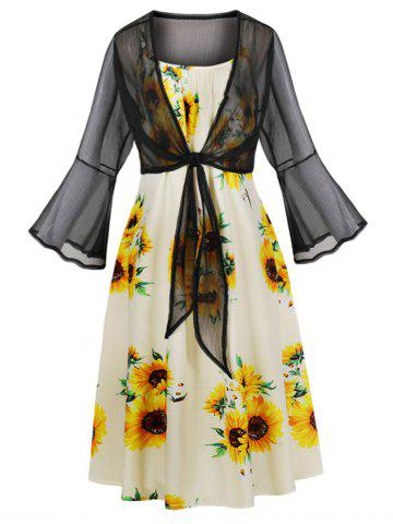 Tie Front Top and Sunflower Print Cami Dress
