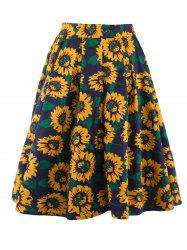 Sunflower Print A Line Skirt -