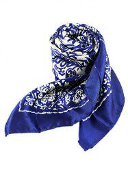 Chinese Style Flower Print Square Scarf -
