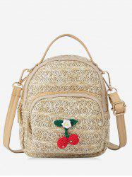 Cherry Decor Woven Straw Crossbody Bag -