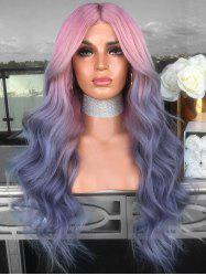 Middle Part Ombre Long Colormix Wavy Cosplay Synthetic Wig -