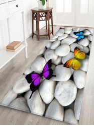 Stones and Butterfly Pattern Water Absorption Area Rug -
