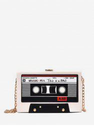 Square Music Tapes Chain Crossbody Bag -