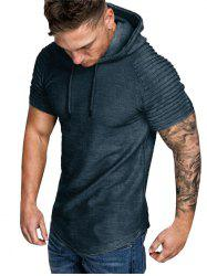 Hooded Ruched Sleeve T-shirt -