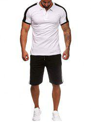 Contrast Shirt Collar Tee and Shorts -