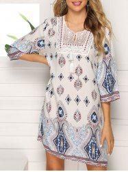 Embroidered Keyhole Straight Dress -