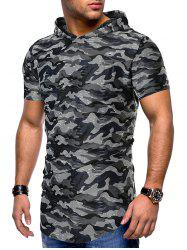 Camouflage Print Ripped Hooded Tee -