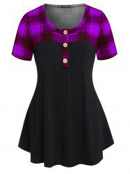 Plus Size Checked Panel Button T Shirt -