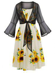 Tie Front Top and Sunflower Print Cami Dress -