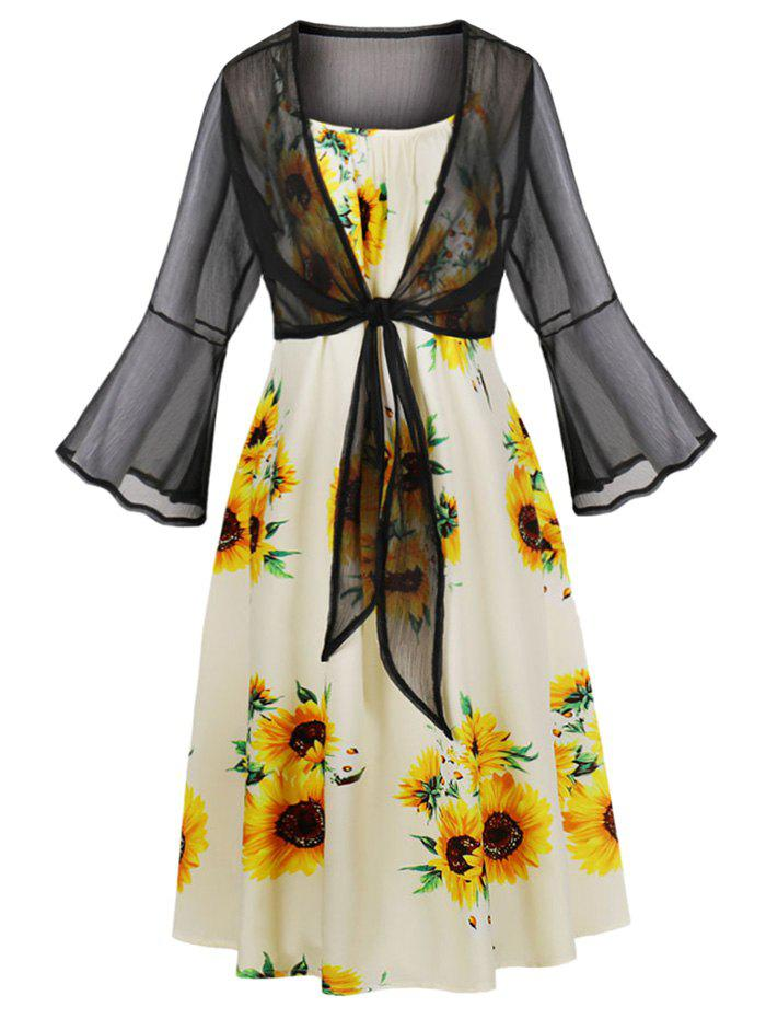 Latest Tie Front Top and Sunflower Print Cami Dress