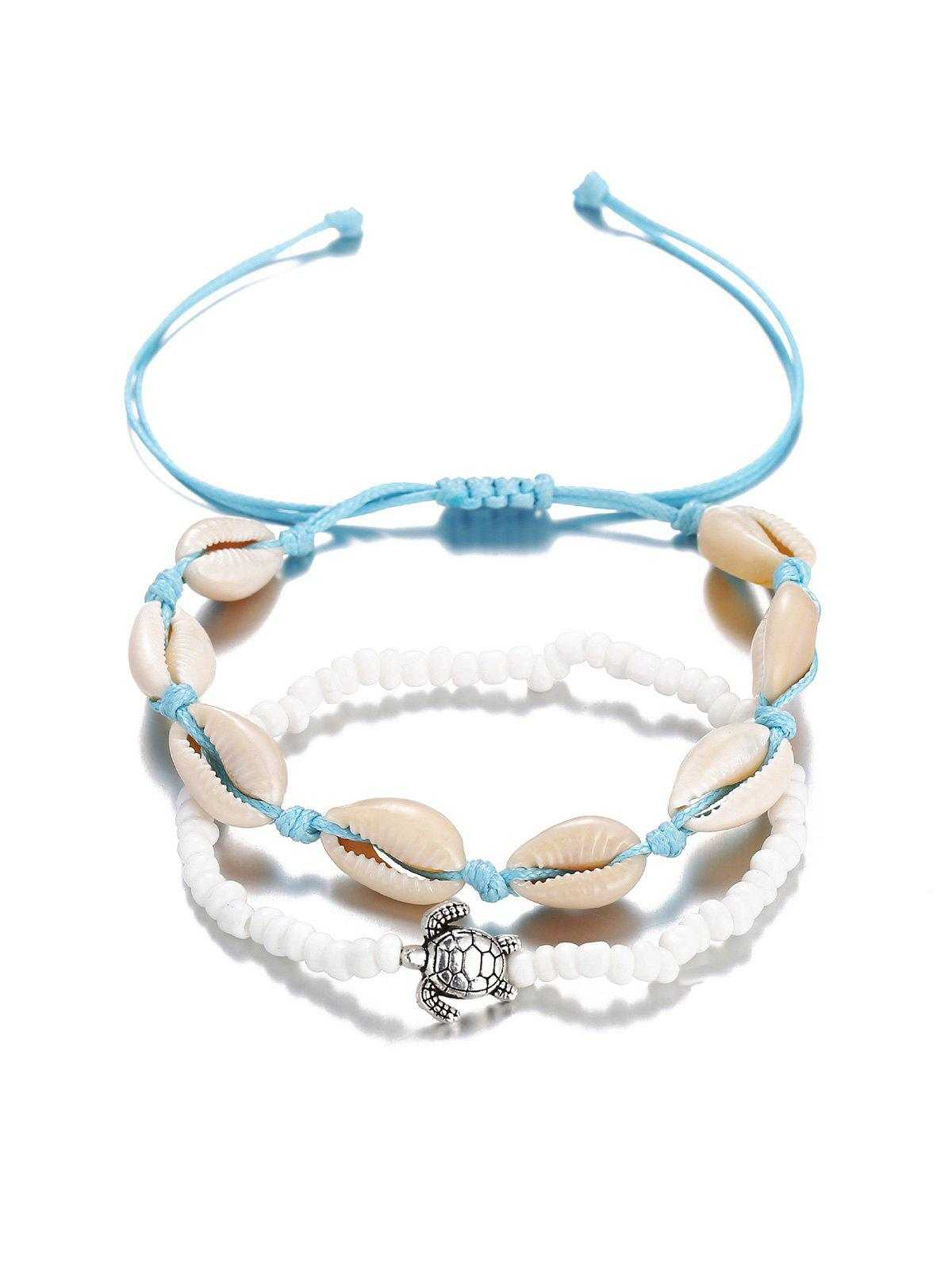 Turtle Cowrie Shell Beaded Beach Anklet Set, Day sky blue