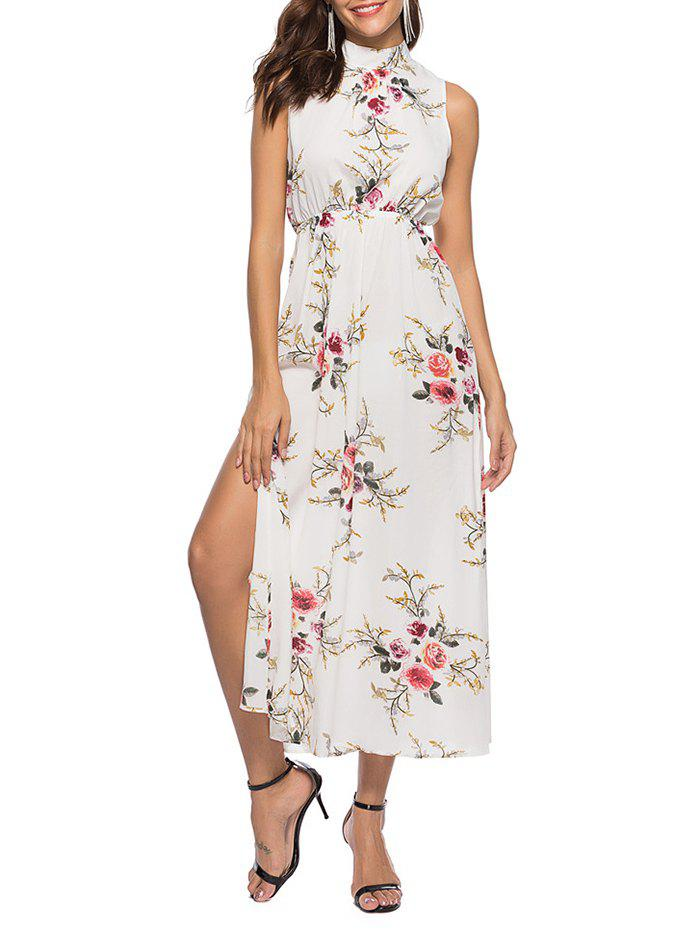 Outfit Floral Print Slits Sleeveless Maxi Dress