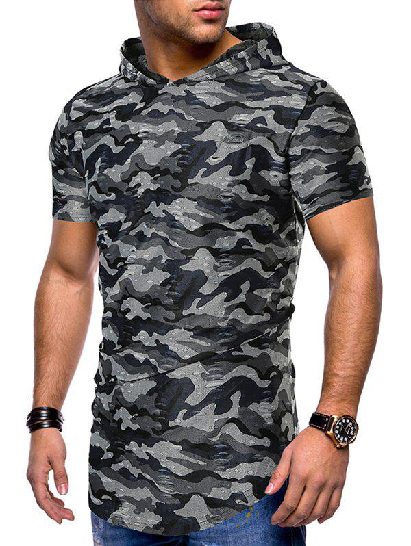 Unique Camouflage Print Ripped Hooded Tee