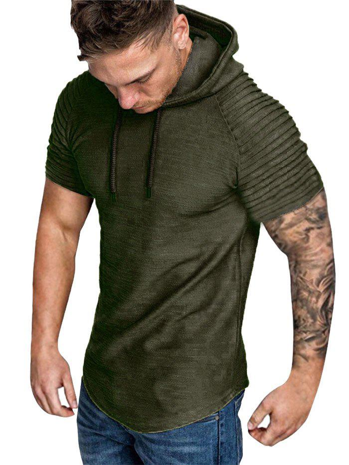 Cheap Hooded Ruched Sleeve T-shirt