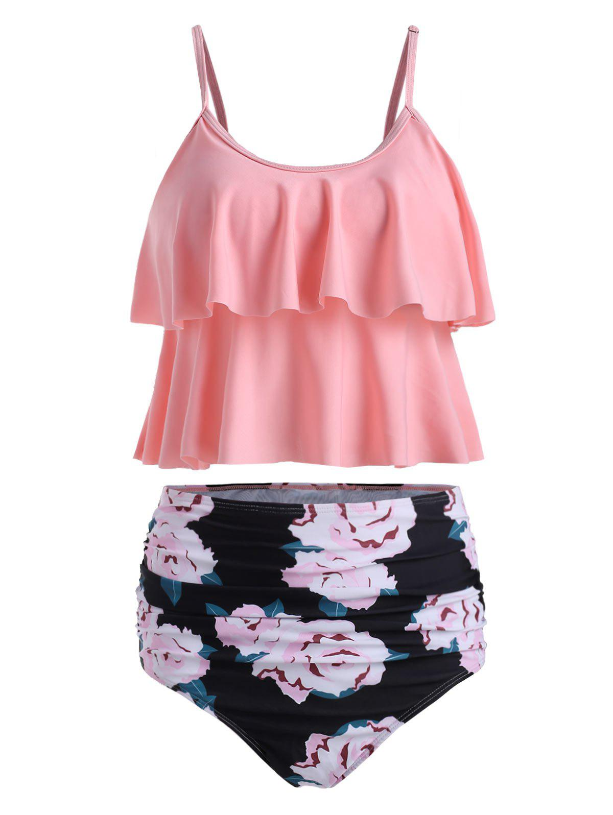 6350a4bd8a 26% OFF] Floral Print Padded Overlay Tankini Set | Rosegal