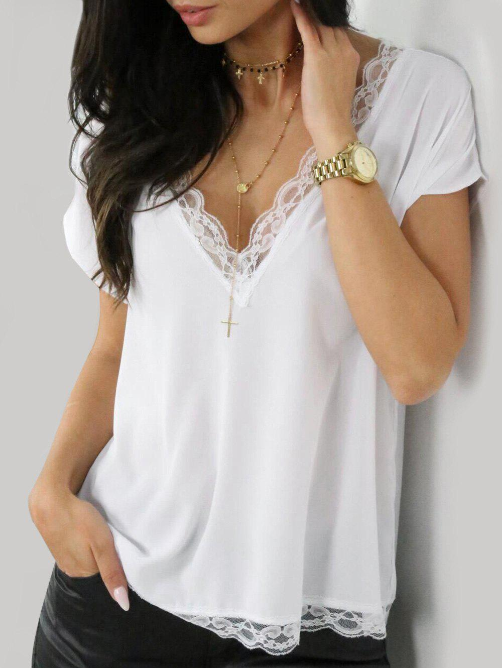 New Plunge Lace Panel Blouse