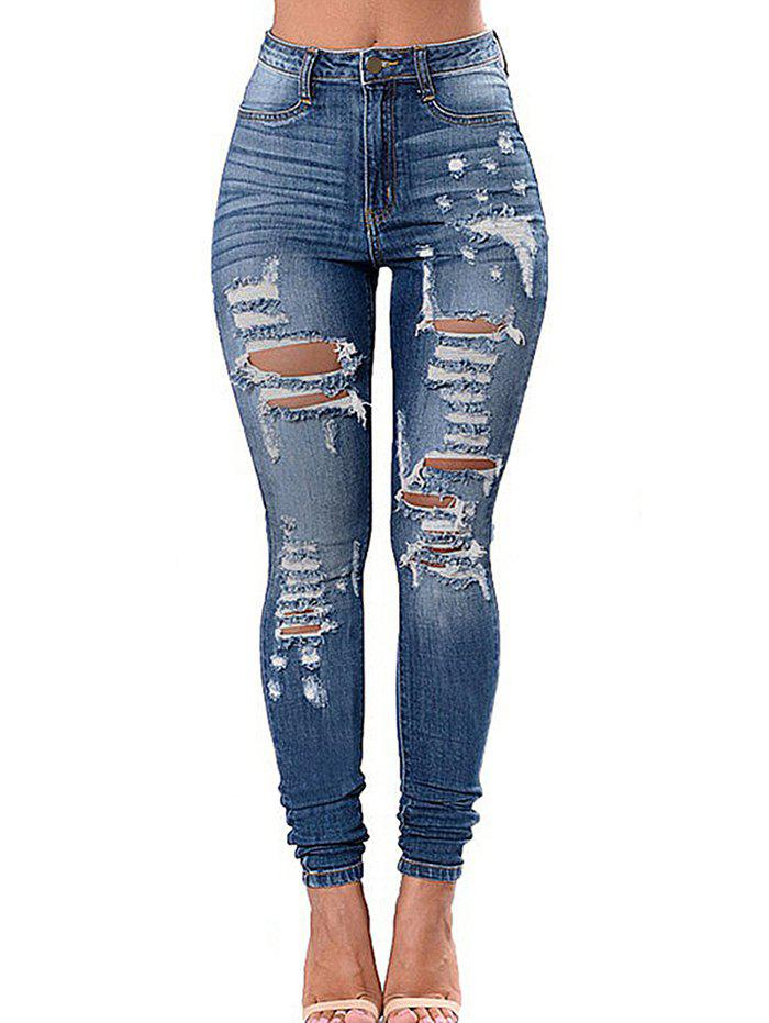 Cheap Pockets Ripped Skinny Jeans