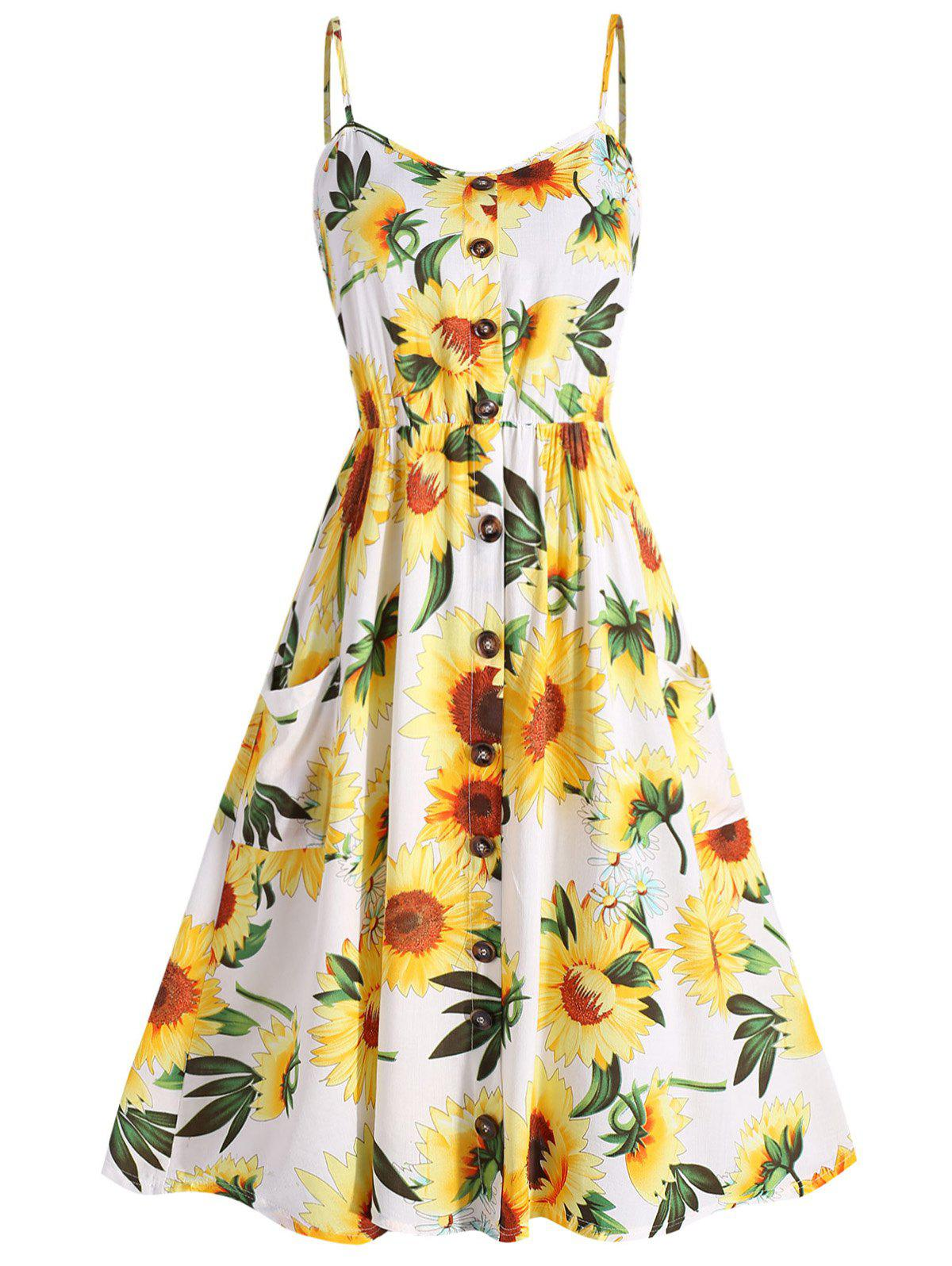 Store Plus Size Sunflower Print Cami Dress