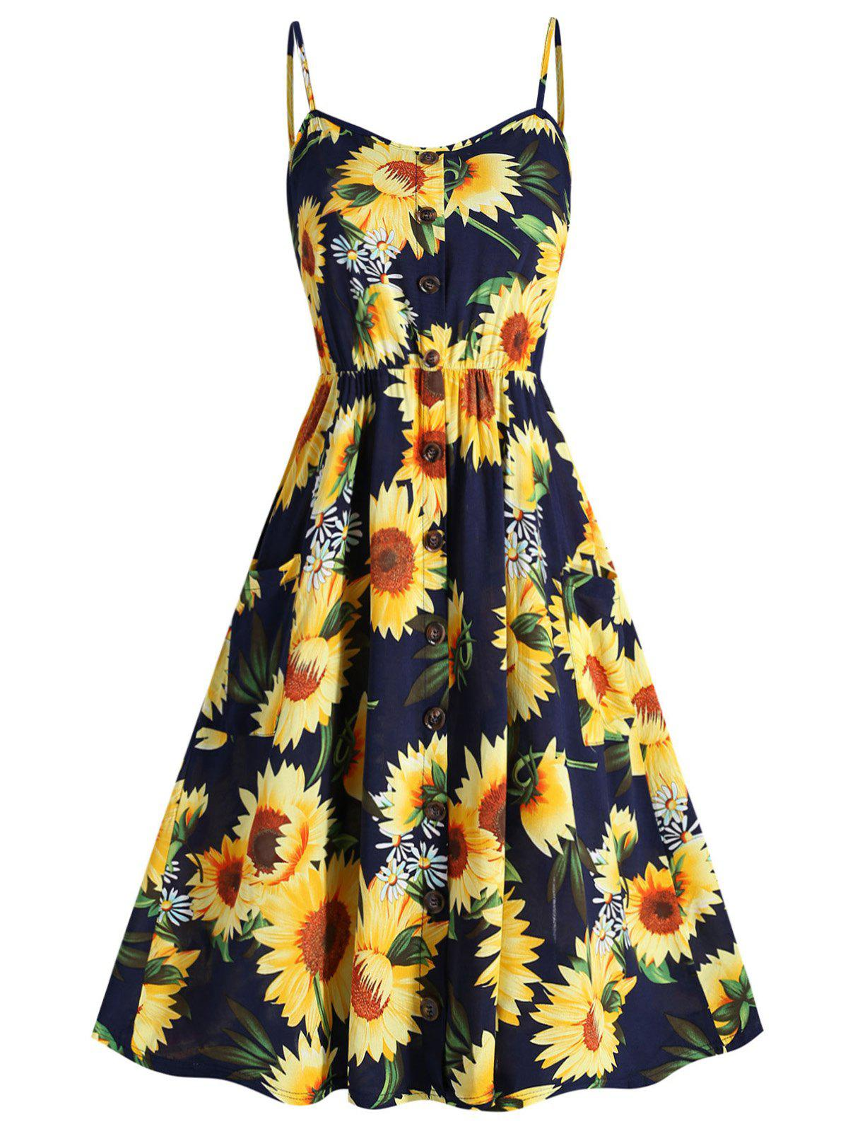 Fancy Plus Size Sunflower Print Cami Dress