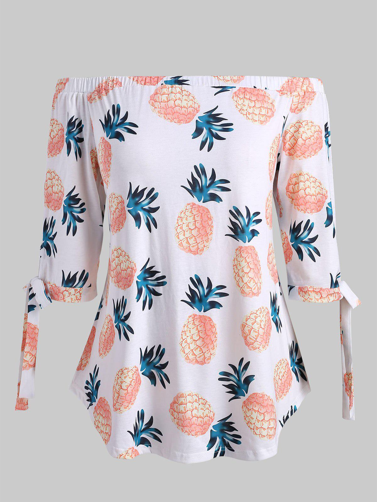 Outfit Plus Size Pineapple Print Off Shoulder T-shirt