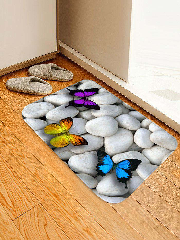 Stones and Butterfly Pattern Water Absorption Area Rug