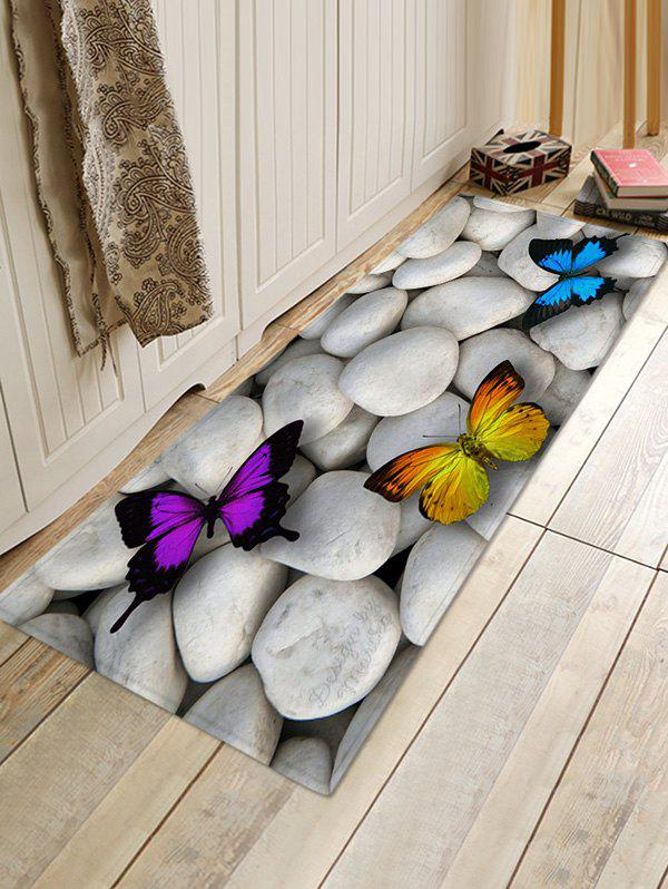Store Stones and Butterfly Pattern Water Absorption Area Rug
