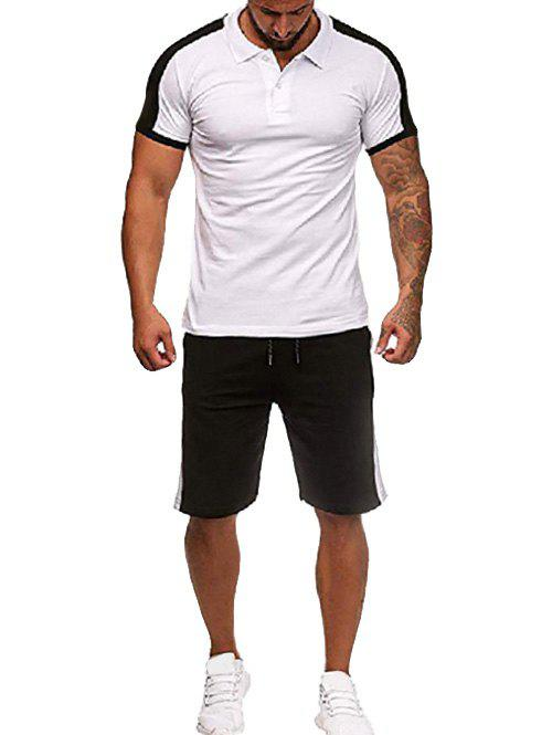 Latest Contrast Shirt Collar Tee and Shorts