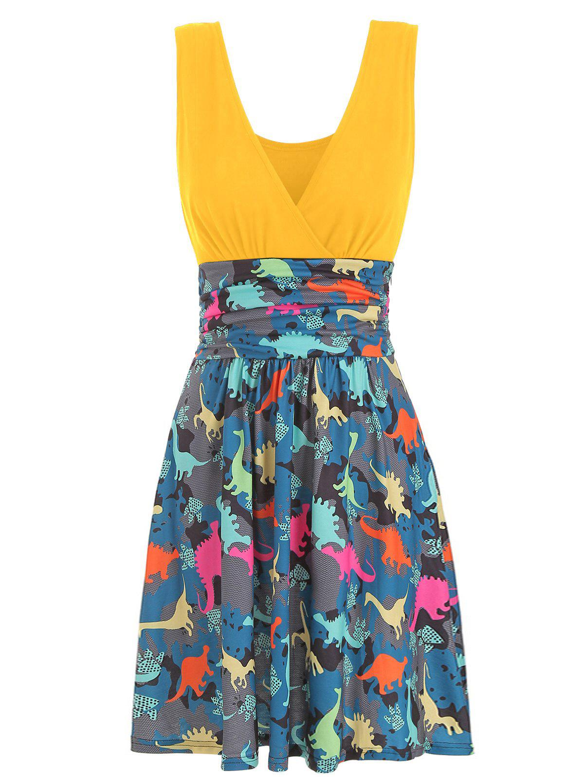 V Neck Ruched Dinosaur Print Sleeveless Dress, Yellow