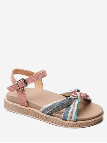 Striped Knot Ankle Strap Sandals