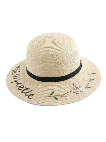 Flower Letter Embroidery Straw Hat