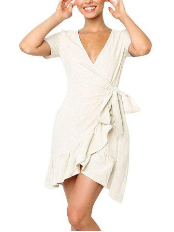 Plunge Flounce Short Wrap Dress