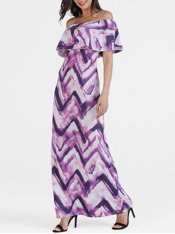 Flounce Off Shoulder Zig Zag Dress