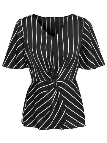 Twisted Striped Butterfly Sleeve Blouse