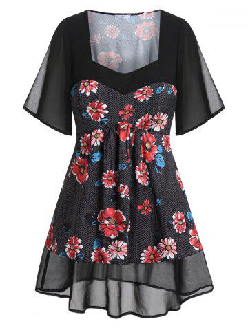 Plus Size Sweetheart Neck Spliced Floral Blouse