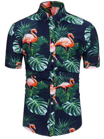 Flamingo Leaf Print Short Sleeves Shirt