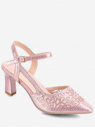 Floral Pattern Pointed Toe Heeled Sandals -