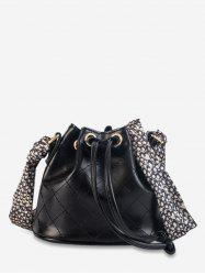 Scarf Decor Quilted Bucket Bag -