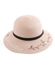 Flower Letter Embroidery Straw Hat -
