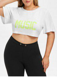 Rosegal Plus Size Casual Graphic Crop Tee -