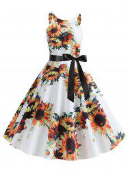 Sunflower Print Sleeveless Dress -