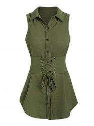 Lace-up Belted Tank Blouse -