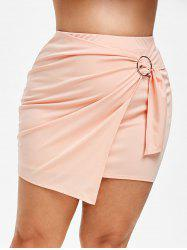 Plus Size Faux Wrap Short Tight Skirt -