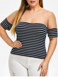 Plus Size Off Shoulder Striped Knit Tee -